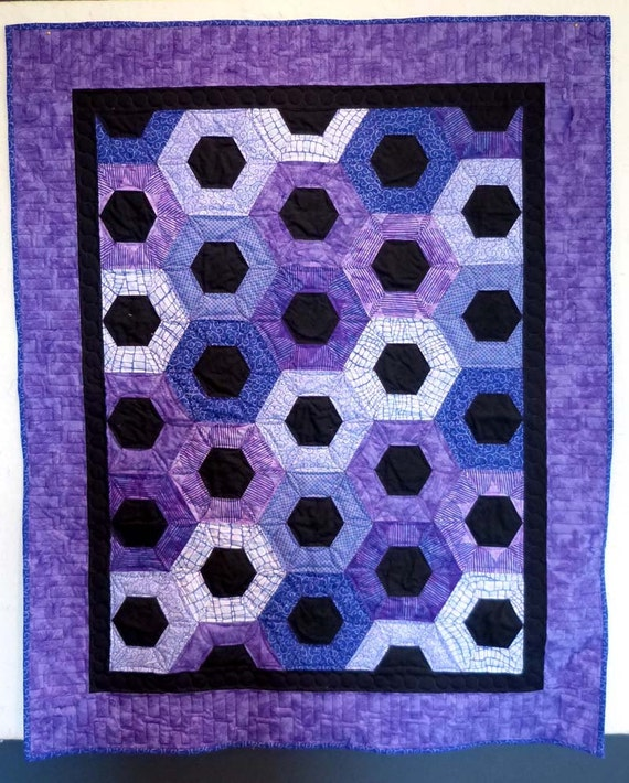 purple hexagon batik baby girl quilt wall hanging