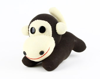 Toddler New Year Gift Handmade Little Brown Sock Monkey Stuffed Animal Doll Baby Toys