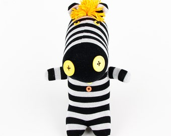 Free Shipping Handmade Sock Zebra Stuffed Animal Doll Baby Toys