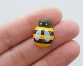 25 Bee embellishments 19 x 19mm wood