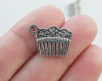 10 Hair comb or hair slide charms antique silver tone BOX12