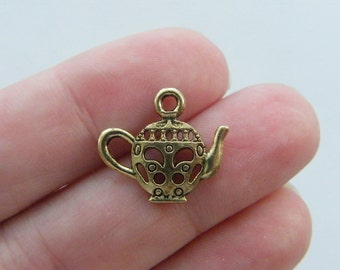 10 Teapot charms gold tone GC4