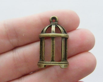 4 Bird cage charms antique bronze tone BC9