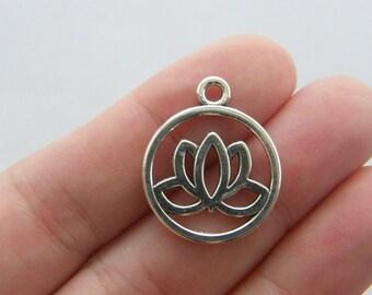 BULK 50 Lotus flower charms antique silver tone F20
