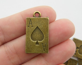 6 Ace playing card charms  antique bronze tone BC126