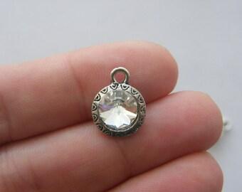 BULK 20 Clear round rhinestone charms antique silver tone I60