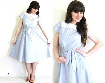 Vintage Gray Dress / 1980s Big Lace Collar Full Skirt Dress