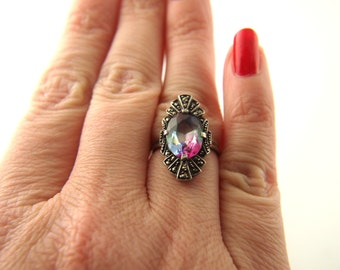 Art Deco Iris Glass Ring - Marcasite - Sterling Silver - Vintage