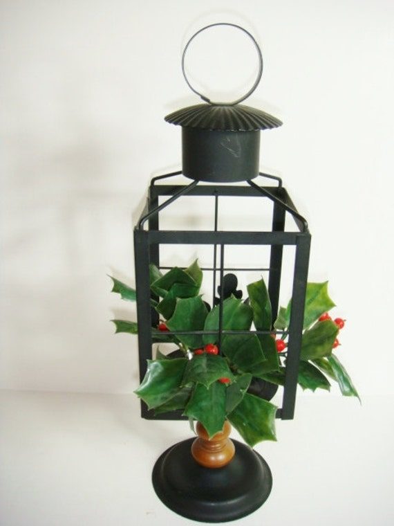 Christmas centerpiece metal black and wood lantern candle