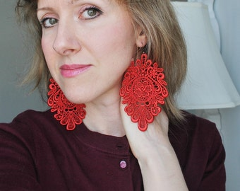 Passion Red lace earrings/ Long earrings/ Lace earrings/ Lace fashion/ Modern bohemian/ rusteam teamstyle bioteam