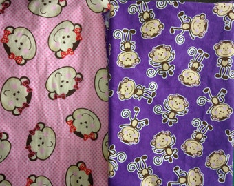 MONKEY Cotton Fabric  2 pieces Pink and Purple over 2 yds