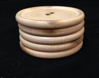 5 LARGE Buttons Wood 2.25 inches across