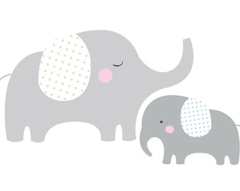 Elephant Pair Vinyl Wall Decal