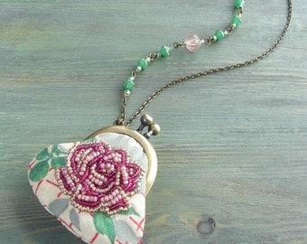 purse necklace, old kimono, beads embroidery, pink rose necklace, colorful necklace, kimono purse, kimono jewelry, beaded purse, silk kimono