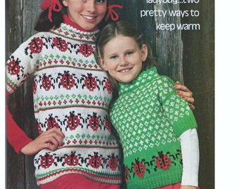 Knitting PATTERN - Lady Bugs Sweaters - Children's sizes 4 to 12 included