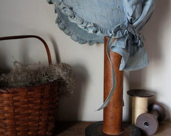 Primitive Old Worn Blue Bonnet