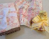 Toile baby girl gift ser of bib,burp pad, and tassel