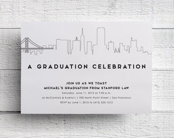 San Francisco Graduation Party Invitation, San Francisco Skyline, San Francisco Invite, Golden Gate Bridge, Berkeley Graduation, Stanford