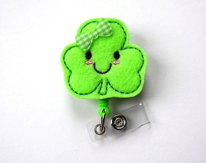 Happy Shamrock - Retractable Badge Reel - Name Badge Holder - Cute Badge Reel - Nurse Badge Holder - Nursing Badge Clip - Felt Badge - RN