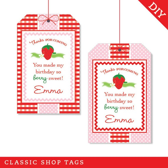 Strawberry Party Personalized DIY Printable Favor Tags