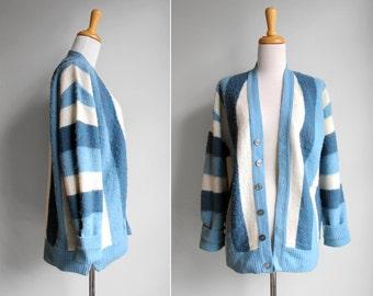 Vintage Sky Blue Scolar Cardigan- Stripe Light Dark Blue White fuzzy Button Up Long Sleeve V Neck- Size Medium Large M L