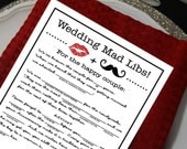 Wedding Mad Libs DIY Printable File, Marriage Advice, Funny Reception Table Card. Black with lips & mustache. Instant Download Wedding Game