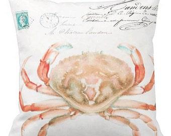 Pillow Cover Beach Decor Pastel Ocean Crab