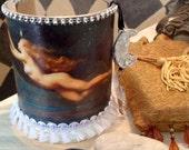 SOPHIA WISDOM, candle votive, candle holder, night sky, Goddess, owl, twinkling star, Divine Feminine, Priestess, altar ritual candle