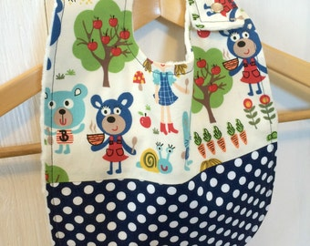 Large Baby Bib ~ Toddler Bib ~ Gender Neutral ~ 3 Bears ~ with Polka Dots
