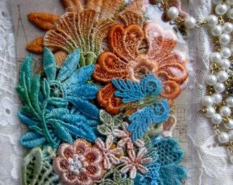 Venise Hand Dyed Lace Applique Embellishment Crazy Quilt Inspiration Kit