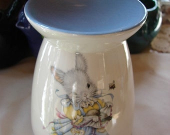 Petticoat Bunny in Blue Cradling a Bird Ceramic Tea Light Tart Burner