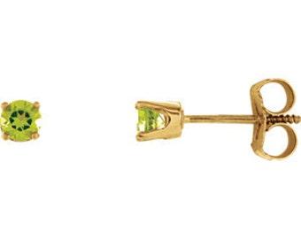 14kt Yellow Gold  Birthstone Earrings August Birthstone-Peridot Studs