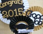 Graduation Decoration - Graduation Centerpiece - Graduation Party Decor - Black and Gold Party - Paper Rosettes