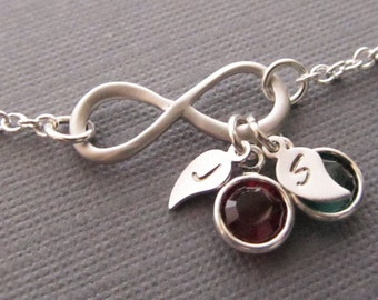 Infinity Necklace with Birthstone and Initial, Silver Infinity Necklace, Mom Necklace, Mothers Jewelry, Family Jewelry, Couples Necklace