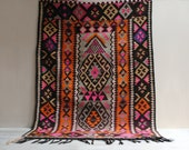 Vintage Ararat Mountain Kilim Rug in Pink and Orange / 4.5' x 3'