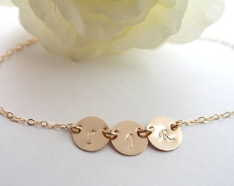 Mother's Day gift- Three Initial Disc Bracelet All GOLD FILLED - Personalized engraved  Initials , family jewelry, birthday, Christmas gifts