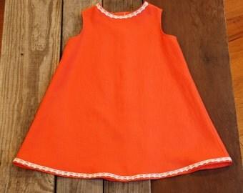 Girl's orange linen retro 60's dress
