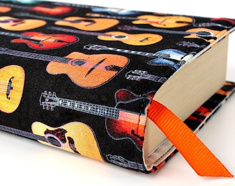 Paperback book cover for mass market books, Reusable book cover, Fabric book cover - Guitars