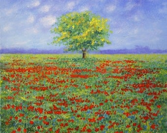 Field of Poppies original acrylic on canvas landscape painting
