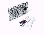 Business card holder, card wallet, gift for her, black and white credit card case, coworker gift, 2 pockets, purse accessory, magnetic snap
