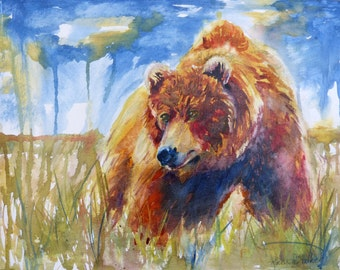 Watercolor Bear Painting Print by Maure Bausch