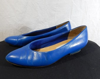 1980's Royal Blue LEATHER PUMPS by NORDSTROM size 7 1/2 B
