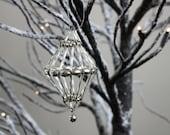 Vintage Christmas Ornament Silver Beaded Diamond Optical