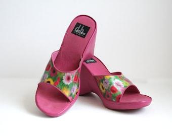 90s Floral Hologram Pink Platform Shoes - Neon - Floral
