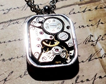 Steampunk Premium Clockwork Gearbox  Necklace (small Rectangle) Gears in bezel on silver Chain gear box necklace