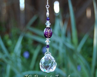 Purple Ladybug Prism Crystal Suncatcher, Rearview Mirror Car Charm, Window Decoration ON SALE