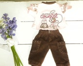 Brown Velour Pants and Pink Cowgirl Top - 14 - 15 inch doll clothes