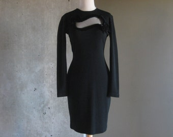 80s VINTAGE Andrea Jovine bodycon black sweater dress 100% wool medium bows