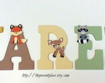 Five wooden letters hand painted,neutral woodland  colors,woodland creatures,forest animals,fox decor,fox letters,forest theme,forest decor