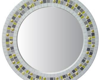 Round Mosaic Mirror - White, Yellow, Gray